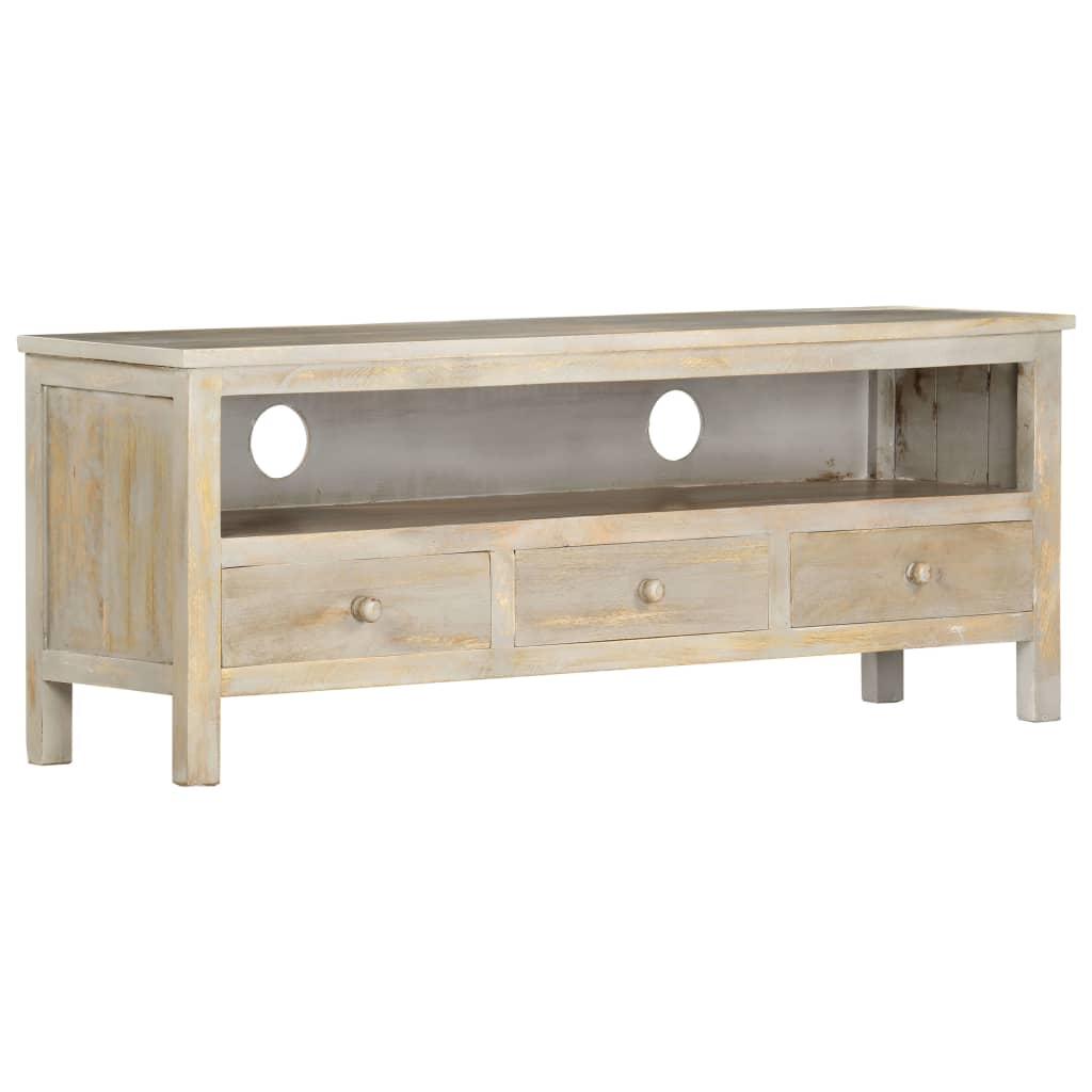 vidaXL TV skrinka sivá 120x30x45 cm masívne mangovníkové drevo