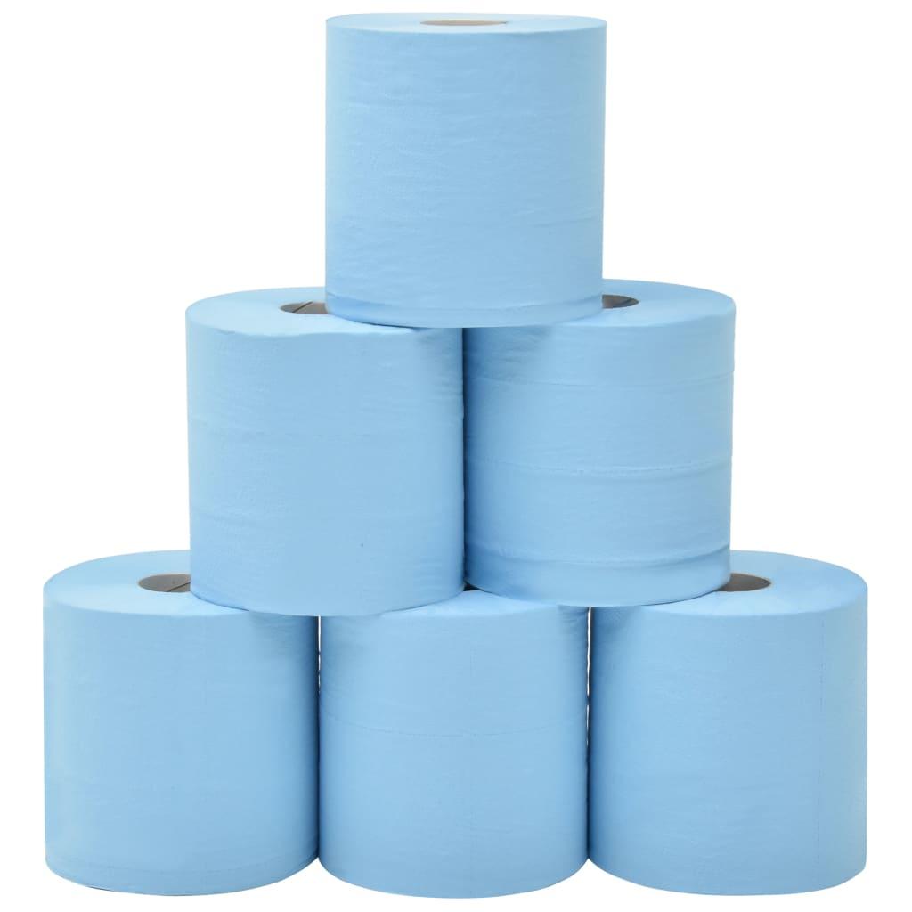 vidaXL 2-vrstvové priemyselné papierové utierky 6 roliek modré 20 cm