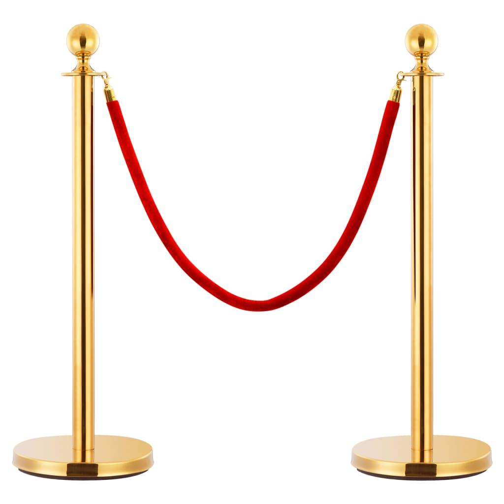 vidaXL Lano k vymedzovaciemu stĺpiku červené a zlaté zamatové