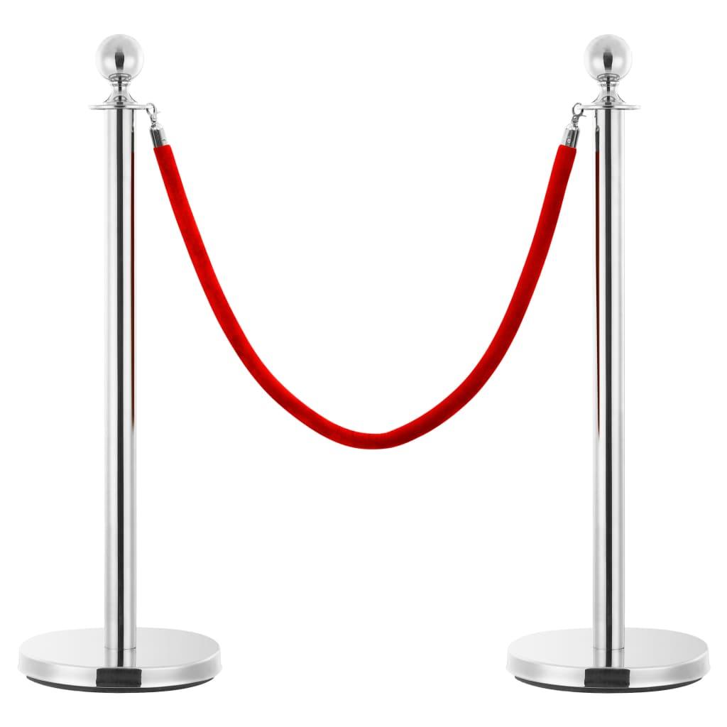 vidaXL Lano k vymedzovaciemu stĺpiku červené a strieborné zamatové