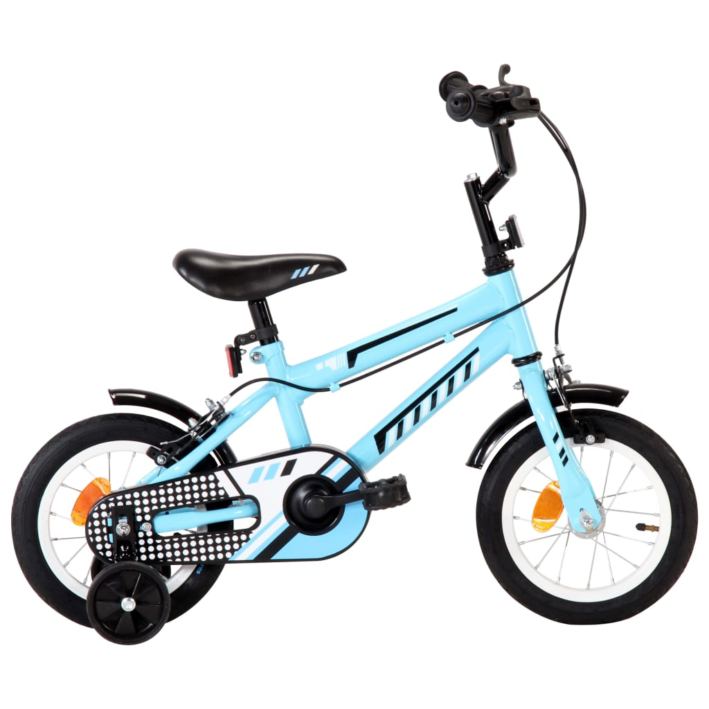 vidaXL Detský bicykel 12 palcový čierny a modrý
