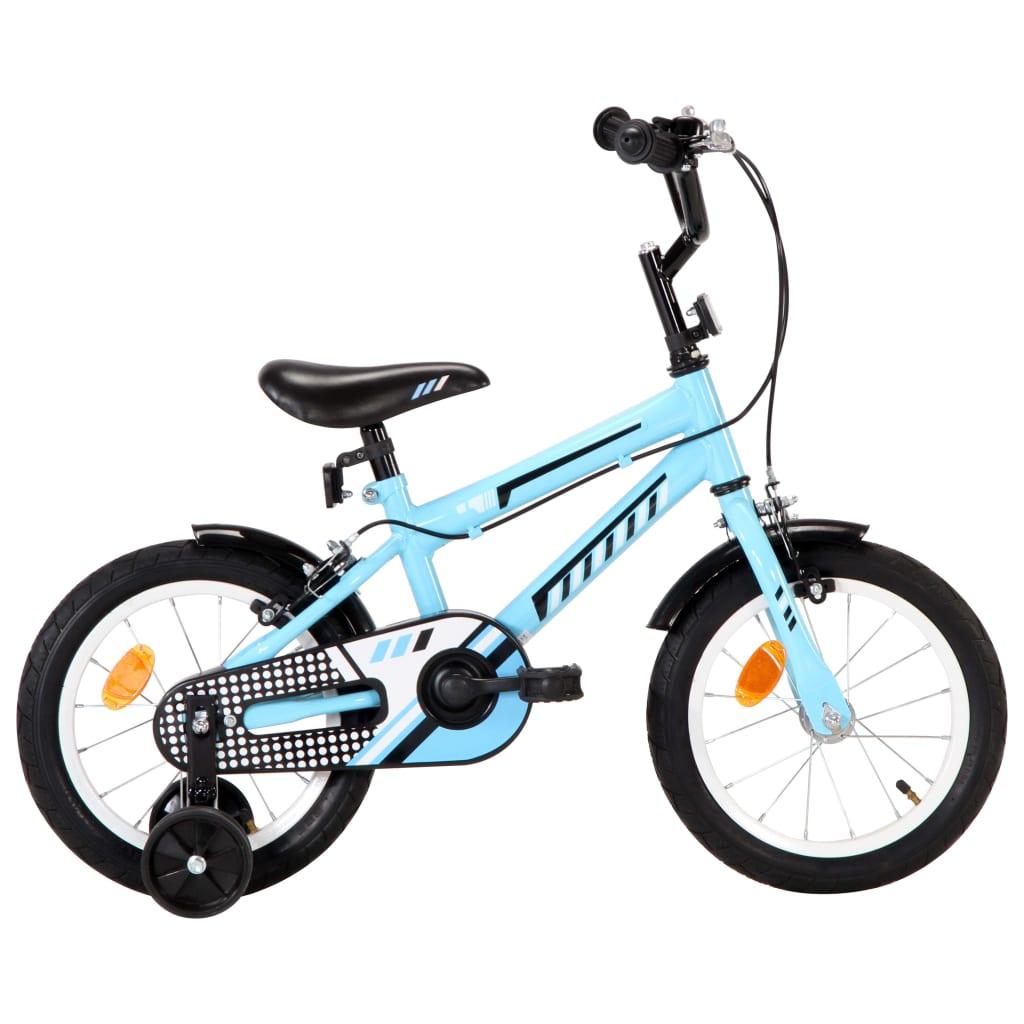 vidaXL Detský bicykel 14 palcový čierny a modrý
