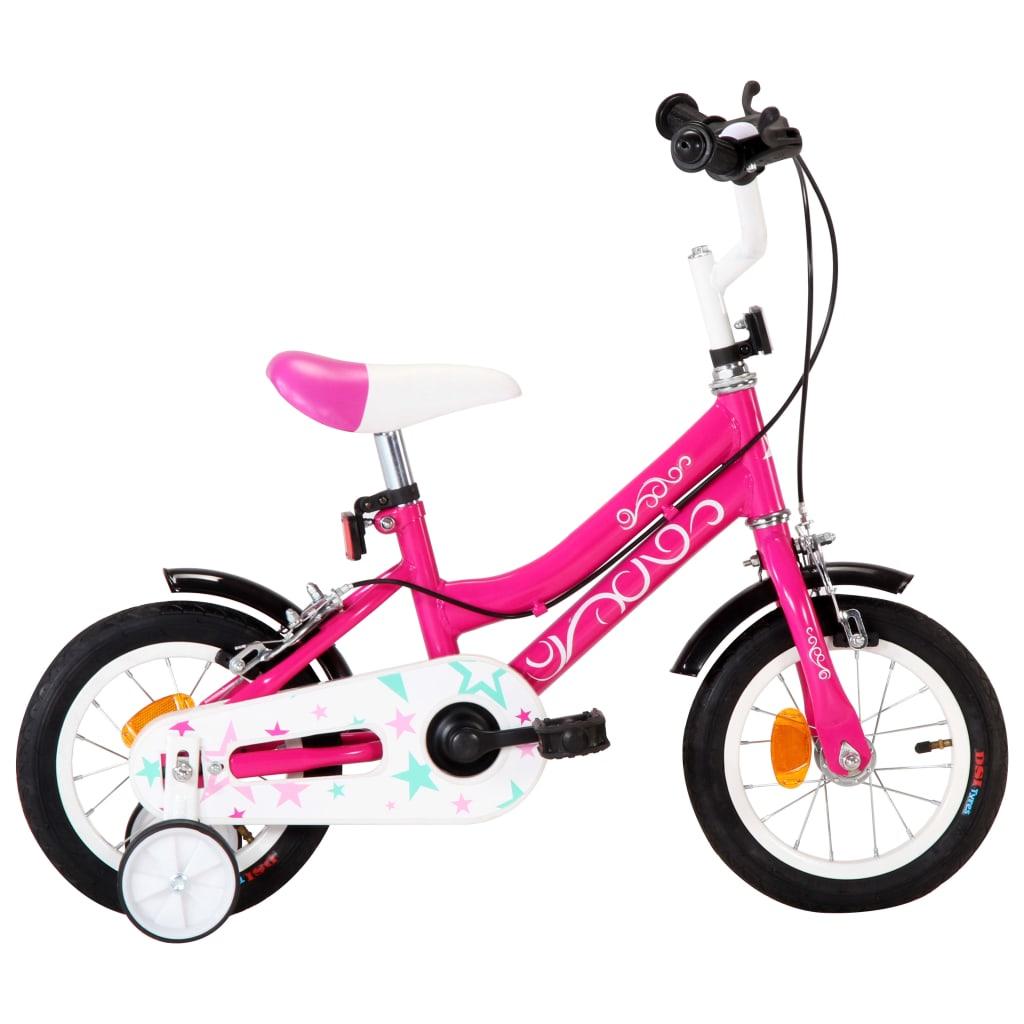 vidaXL Detský bicykel 12 palcový čierny a ružový