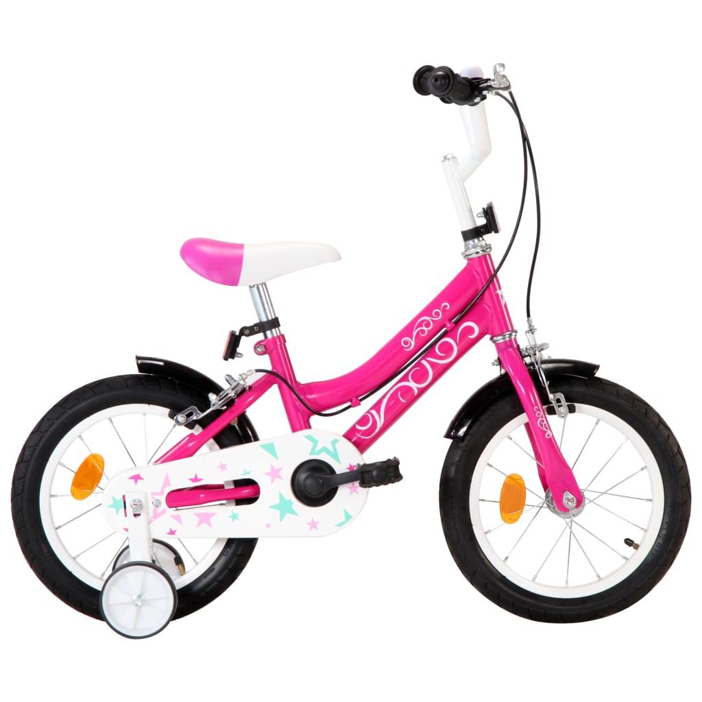 vidaXL Detský bicykel 14 palcový čierny a ružový