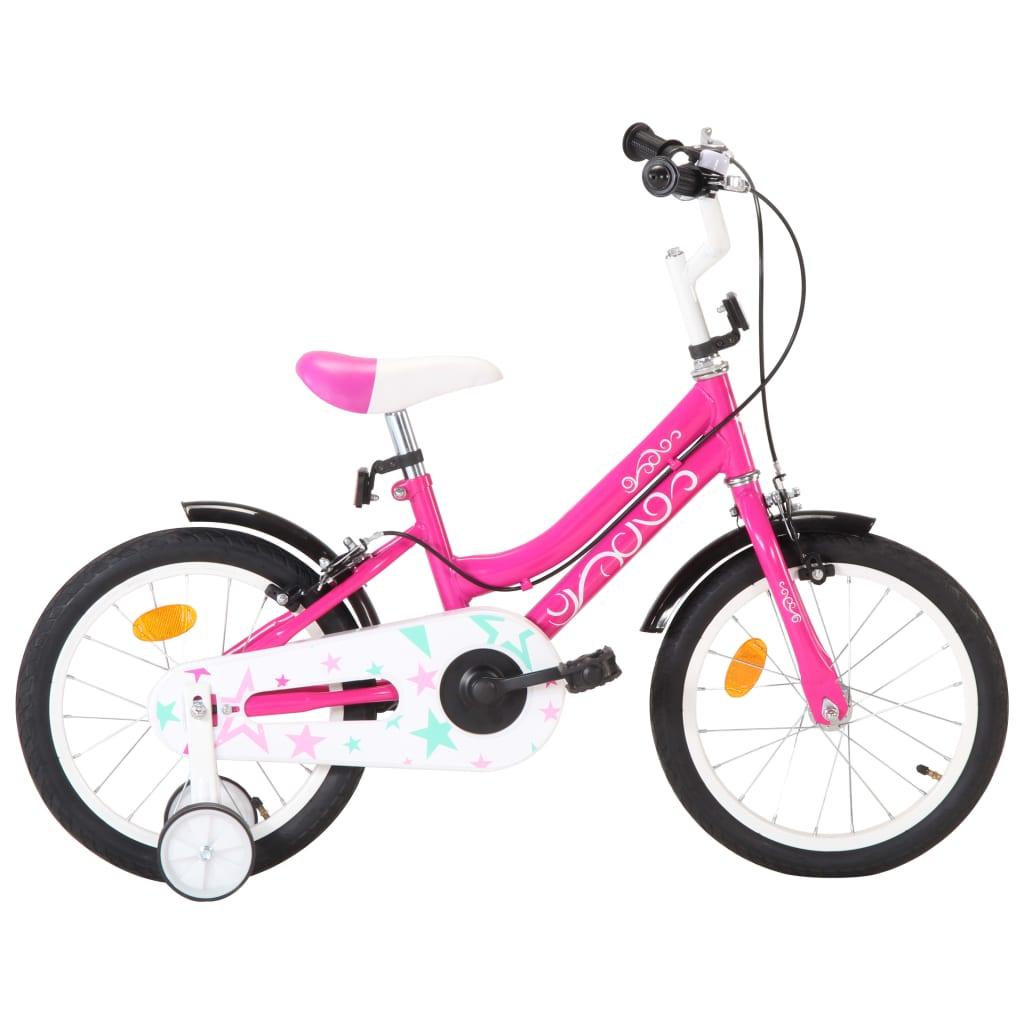 vidaXL Detský bicykel 16 palcový čierny a ružový