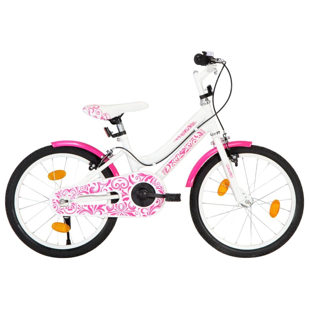 vidaXL Detský bicykel 18 palcový ružový a biely