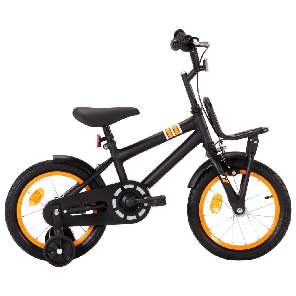 vidaXL Detský bicykel s predným nosičom 14 palcový čierny a oranžový