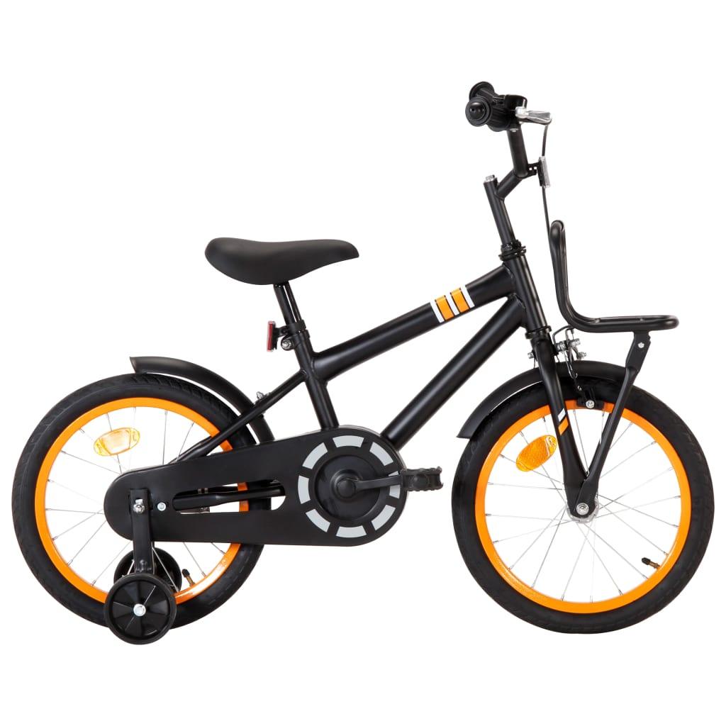 vidaXL Detský bicykel s predným nosičom 16 palcový čierny a oranžový
