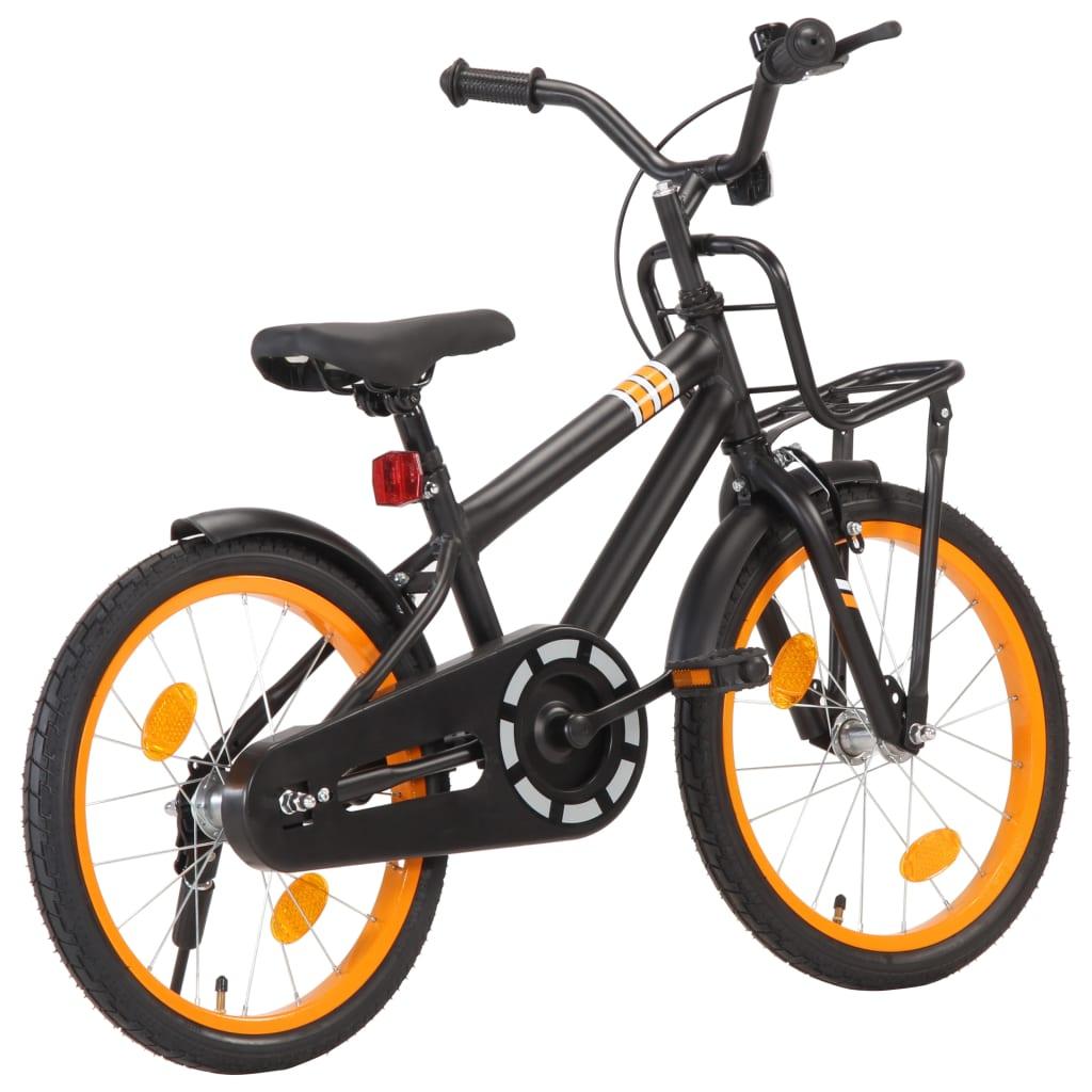 vidaXL Detský bicykel s predným nosičom 18 palcový čierny a oranžový