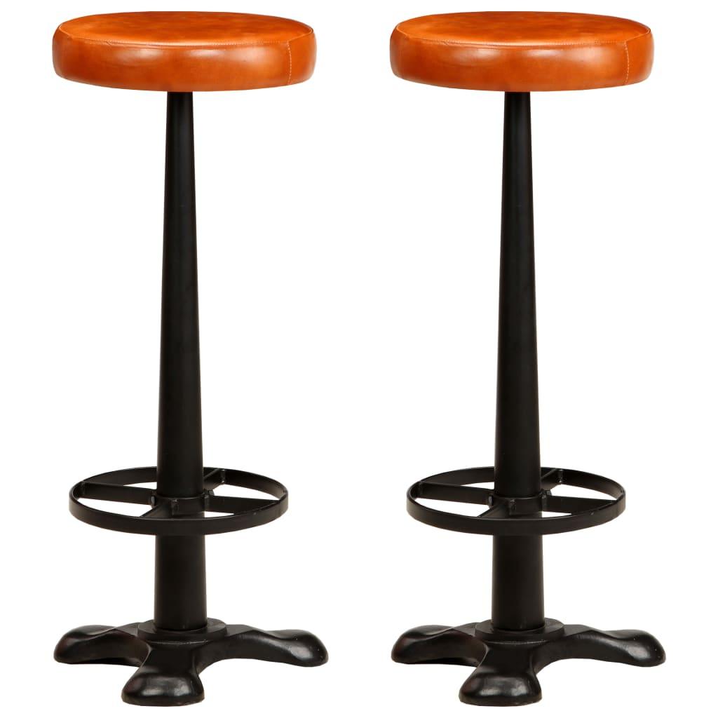 vidaXL Barové stoličky 2 ks, pravá koža