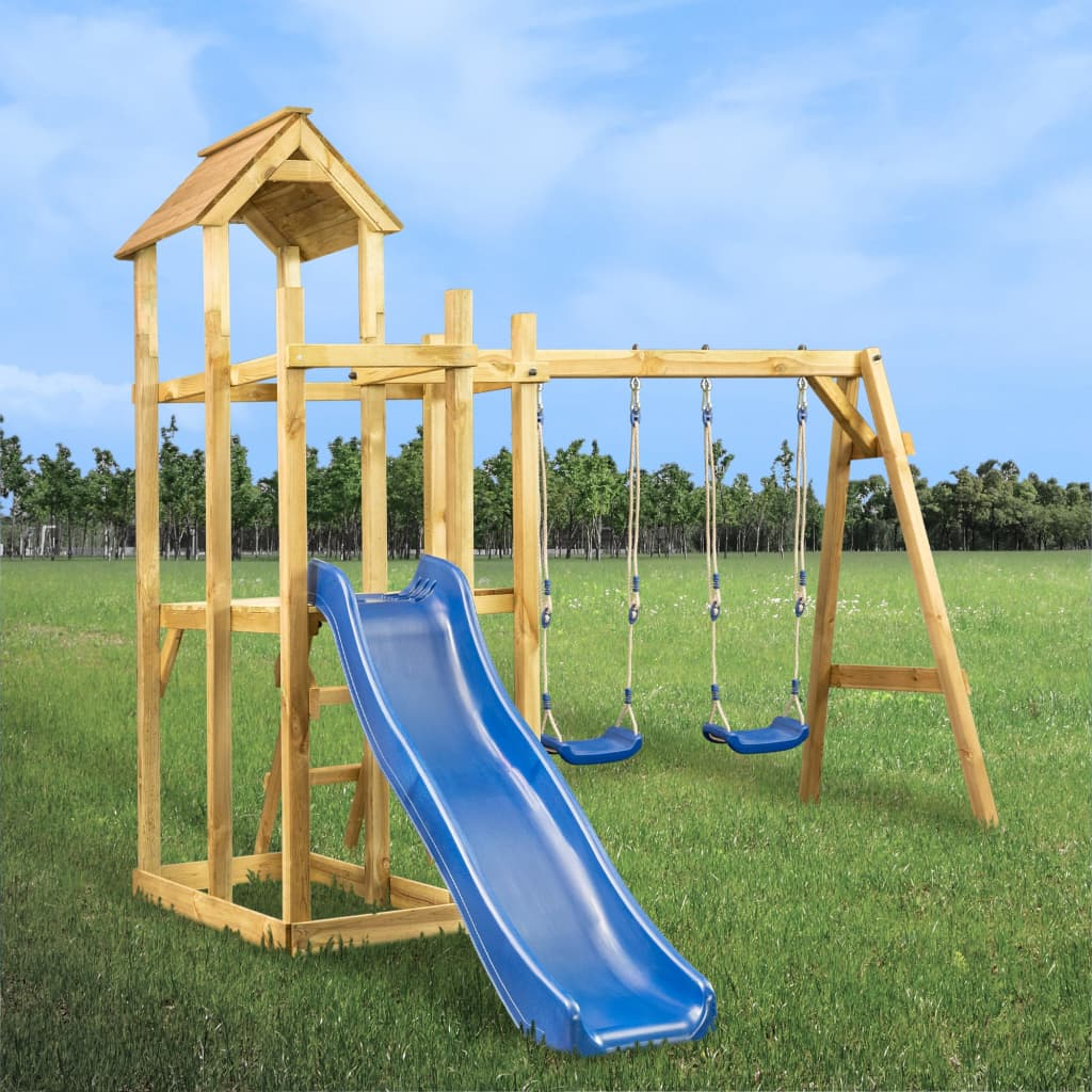 vidaXL Detské ihrisko+šmýkačka, hojdačka, rebrík 285x305x226,5 cm