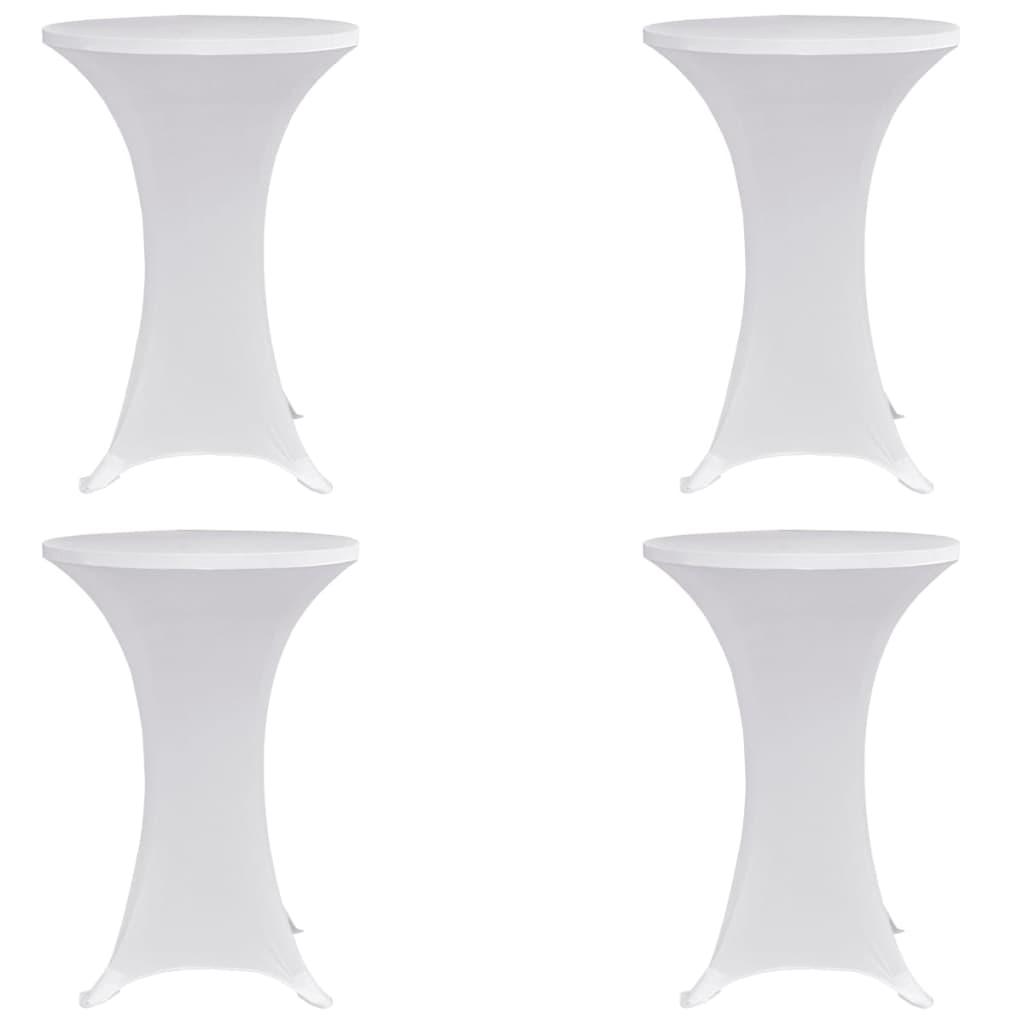 vidaXL Obrusy na stojaci stôl 4 ks biele Ø80 cm naťahovacie