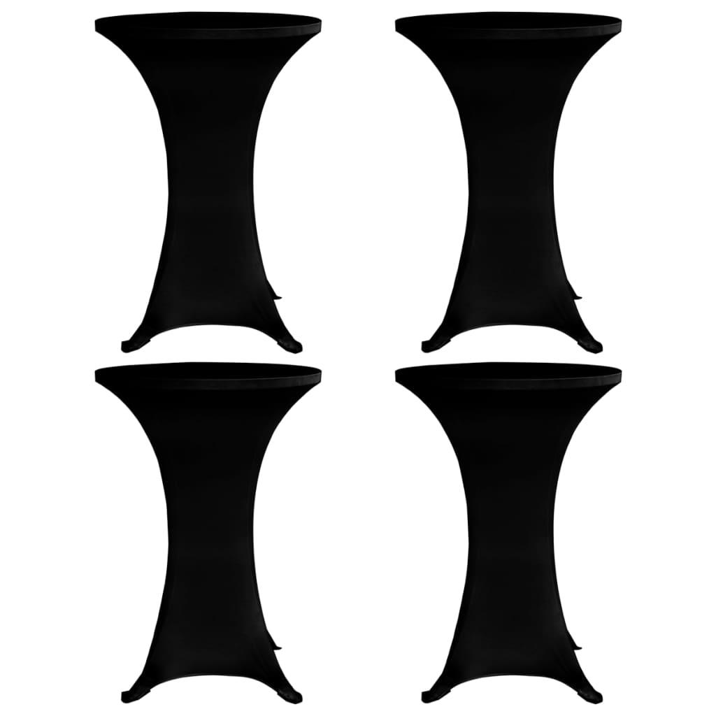 vidaXL Obrusy na stojaci stôl 4 ks čierne Ø80 cm naťahovacie