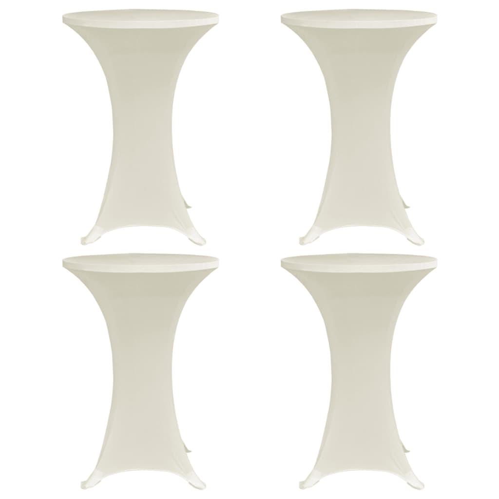 vidaXL Obrusy na stojaci stôl 4 ks krémové Ø60 cm naťahovacie