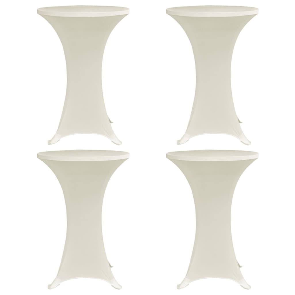 vidaXL Obrusy na stojaci stôl 4 ks krémové Ø80 cm naťahovacie