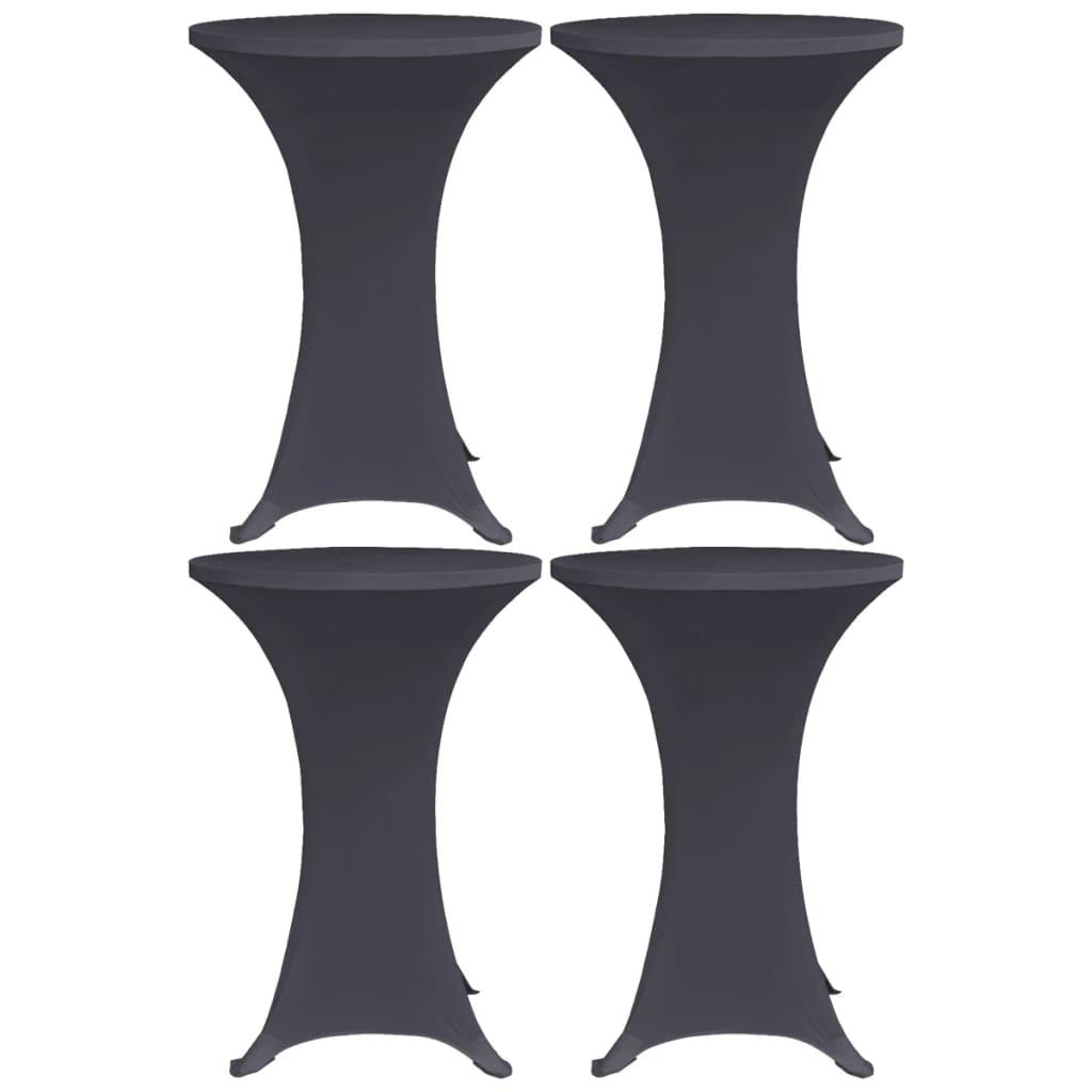 vidaXL Naťahovacie obrusy na stôl 4 ks antracitové 60 cm