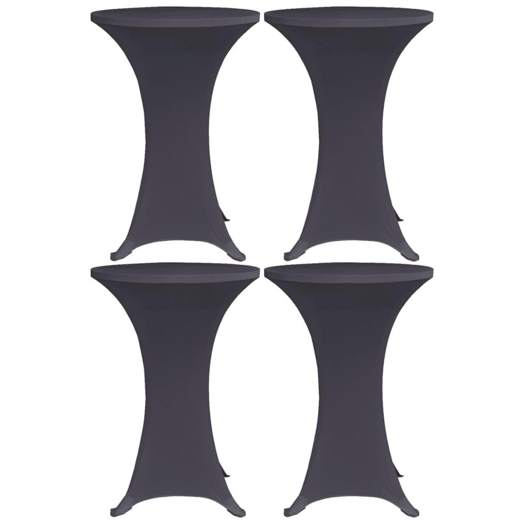 vidaXL Naťahovacie obrusy na stôl 4 ks antracitové 80 cm