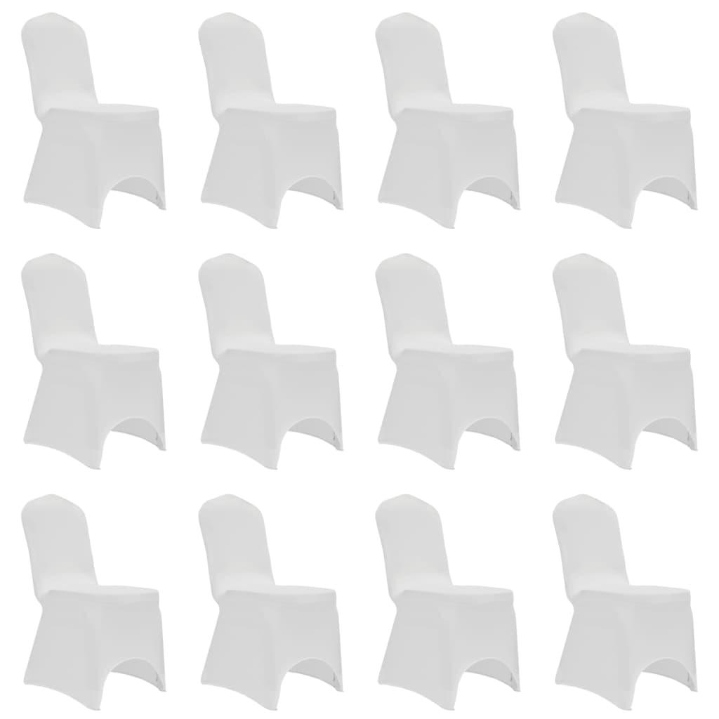 vidaXL Návleky na stoličku biele 12 ks naťahovacie