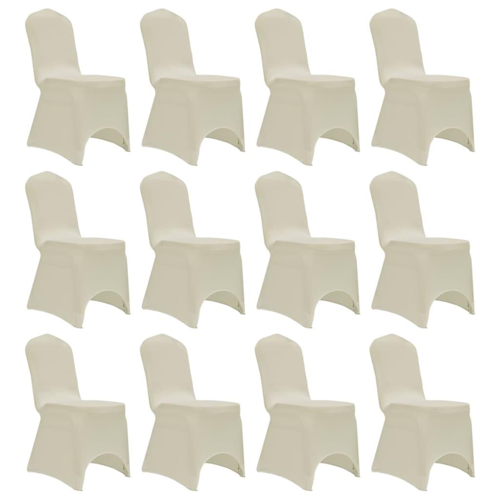 vidaXL Návleky na stoličku krémové 12 ks naťahovacie