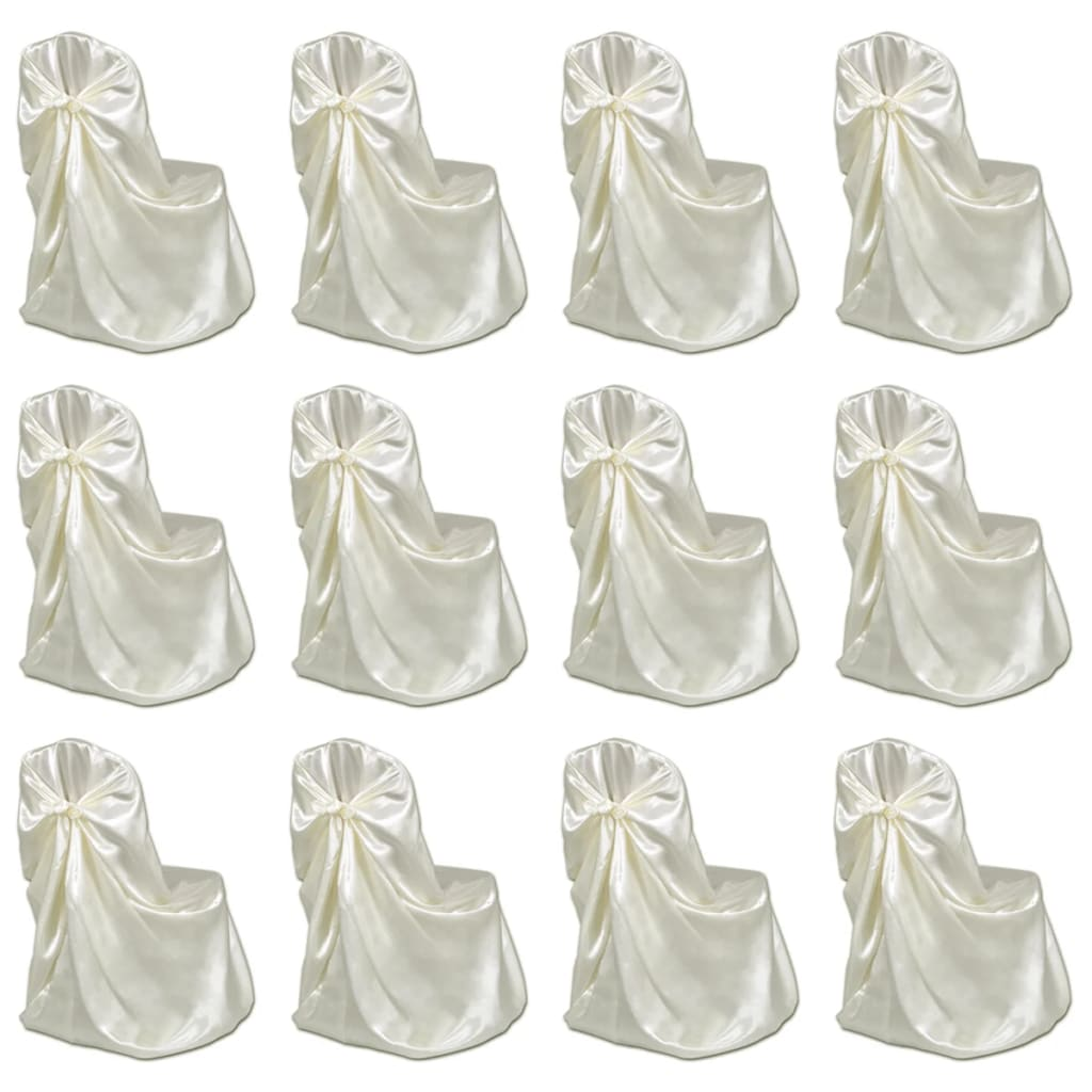 vidaXL Návleky na stoličku na svadby a bankety 12 ks krémové