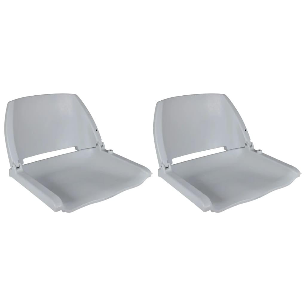 vidaXL Lodné sedadlá 2 ks sklopné s operadlom bez vankúša sivé 41x51x48 cm