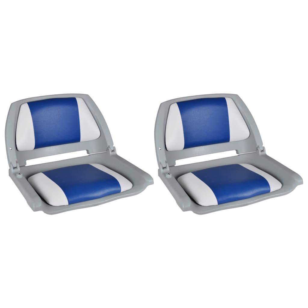 vidaXL Lodné sedadlá 2 ks sklopné s operadlom a modro-bielym vankúšom 41x51x48 cm