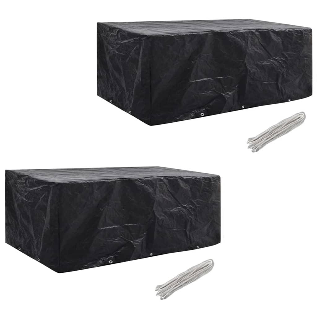 vidaXL Ochranné obaly na záhradný nábytok 2 ks 229x113cm polyratanová súprava pre 8 osôb 10 očiek