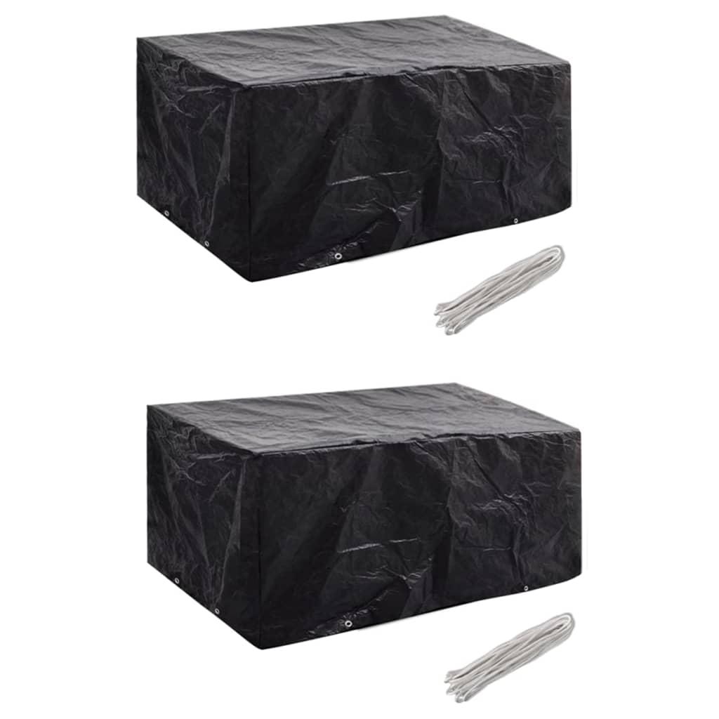 vidaXL Ochranné obaly na záhradný nábytok 2 ks 180x140cm polyratanová súprava pre 4 osoby 8 očiek
