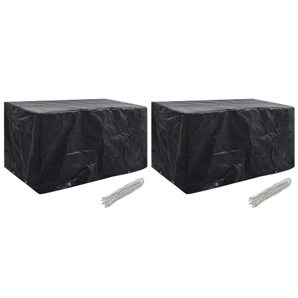 vidaXL Ochranné obaly na záhradný nábytok 2 ks 180x70x90 cm 8 očiek