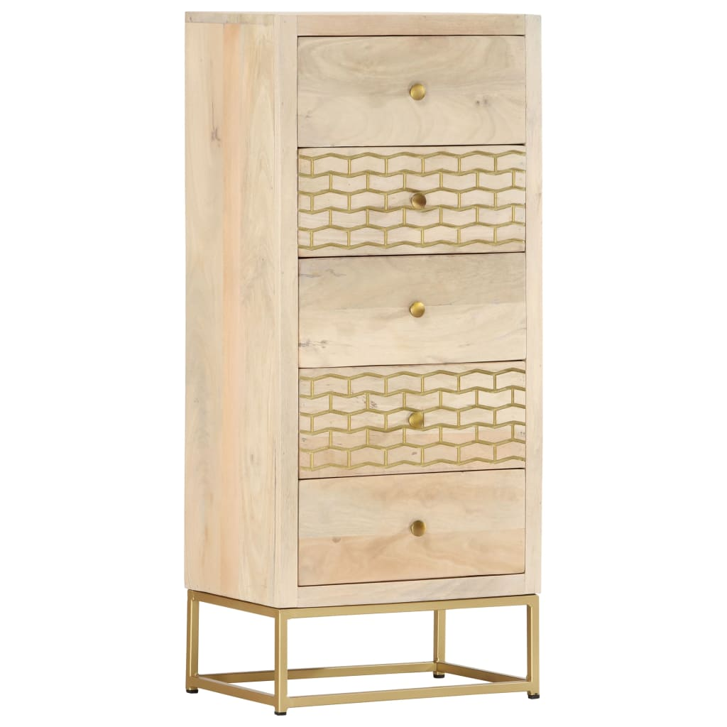 vidaXL Zásuvková skrinka zlatá 45x30x105 cm masívne mangovníkové drevo