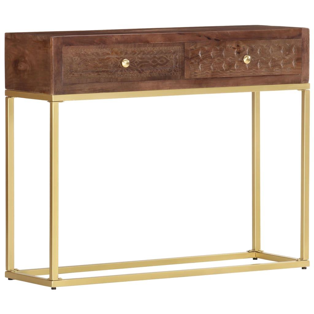 vidaXL Konzolový stolík 90x30x75 cm masívne mangovníkové drevo