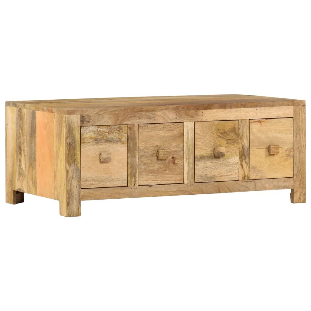 vidaXL Konferenčný stolík so 4 zásuvkami 90x50x35 cm, mangový masív