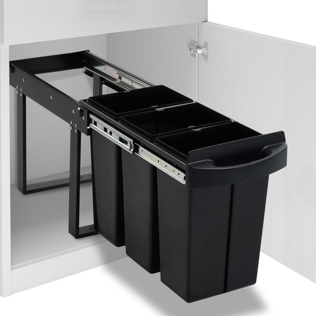 vidaXL Vysúvací smetný kôš do kuchynskej skrinky pomalé sklápanie 36 l