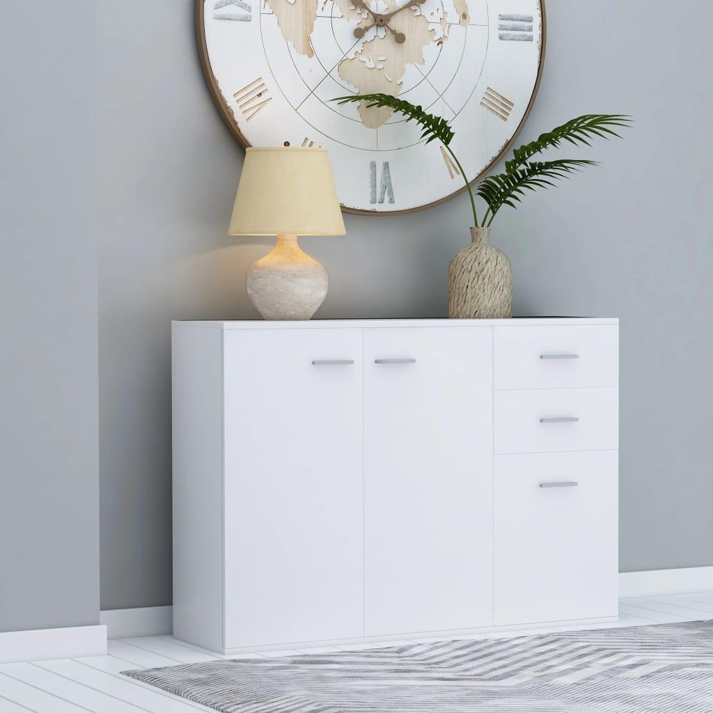 vidaXL Komoda, biela 105x30x75 cm, drevotrieska