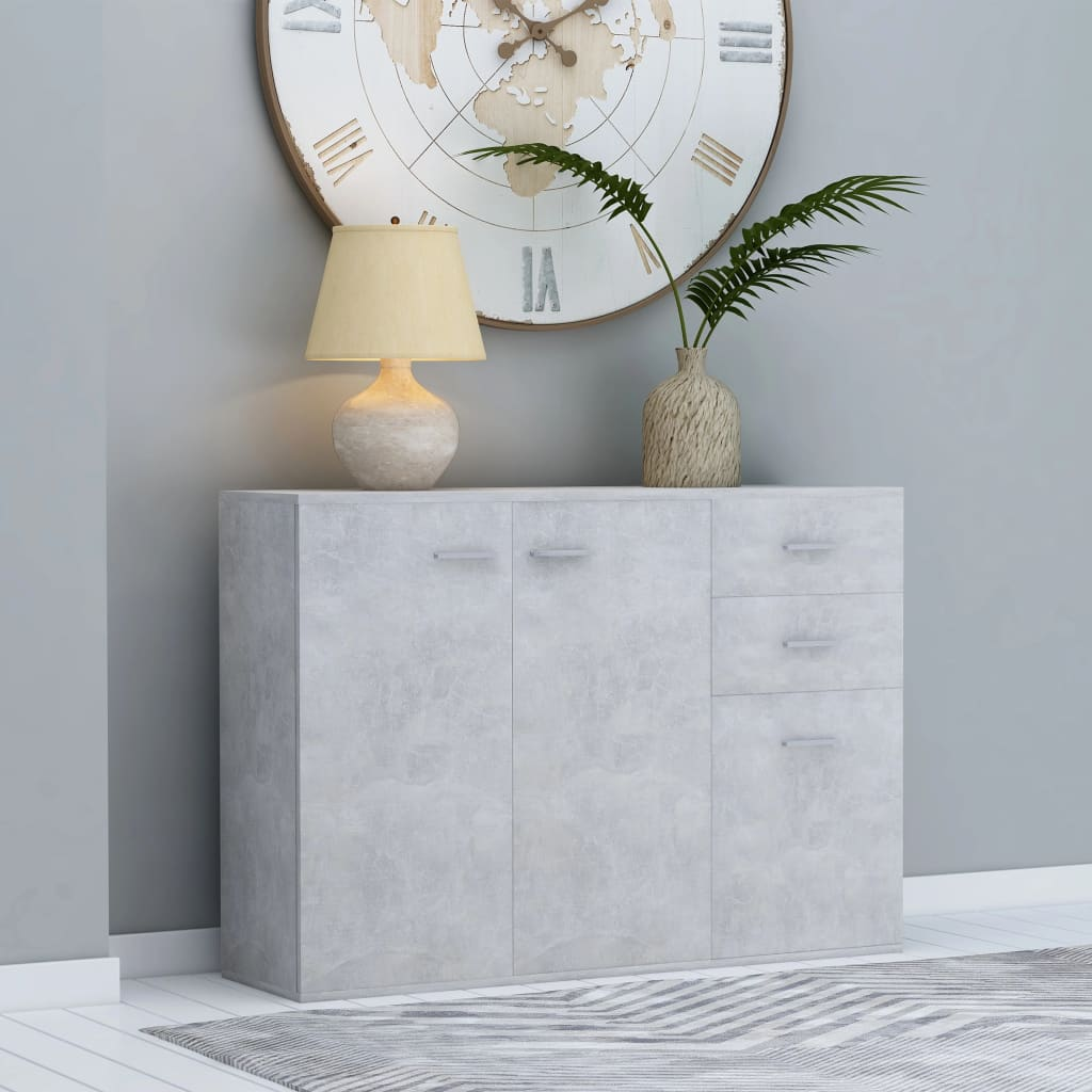 vidaXL Komoda, betónovo sivá 105x30x75 cm, drevotrieska