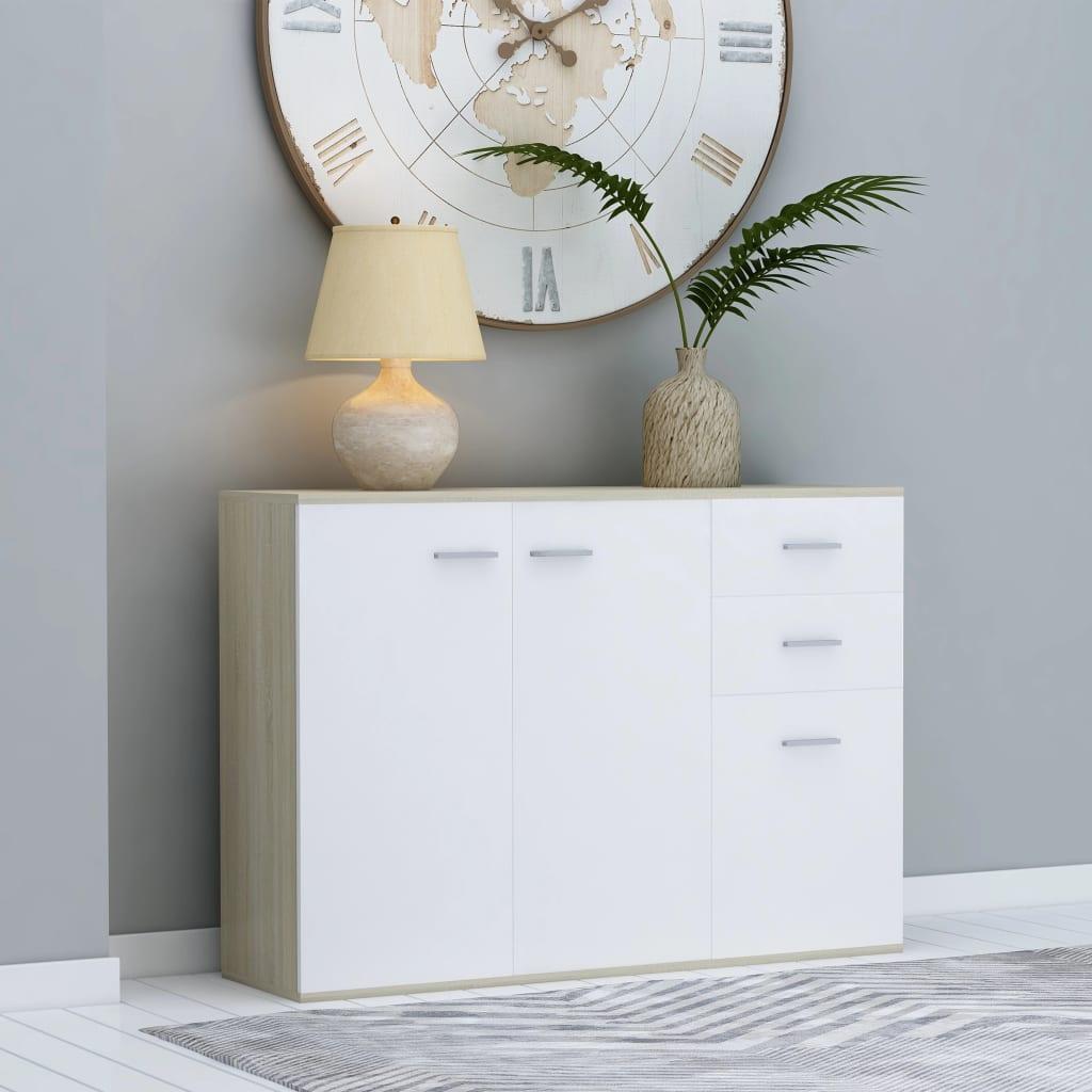 vidaXL Komoda, biela a dub sonoma 105x30x75 cm, drevotrieska