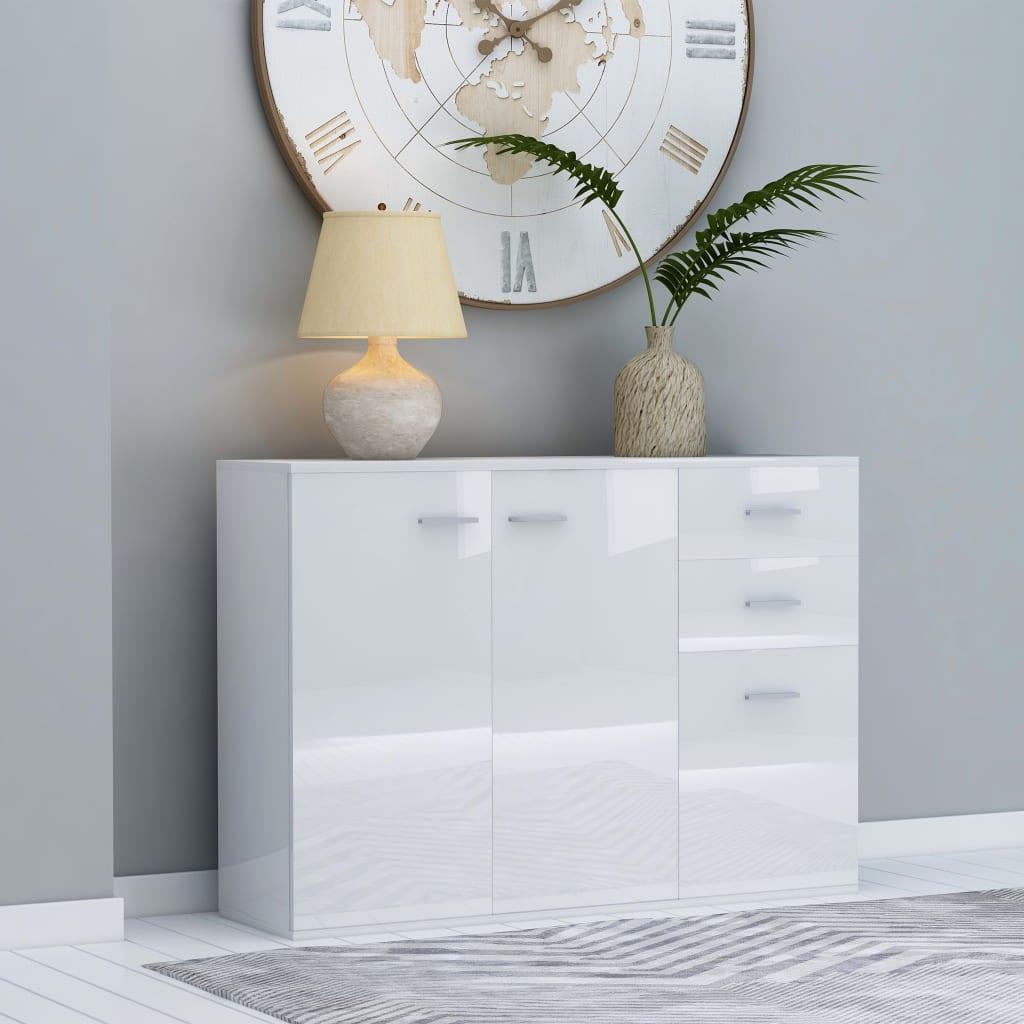 vidaXL Komoda, lesklá biela 105x30x75 cm, drevotrieska
