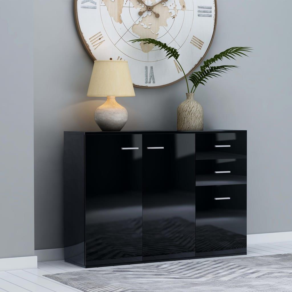 vidaXL Komoda, lesklá čierna 105x30x75 cm, drevotrieska