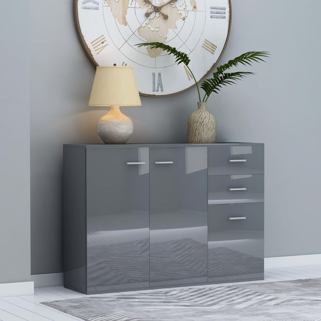 vidaXL Komoda, lesklá sivá 105x30x75 cm, drevotrieska