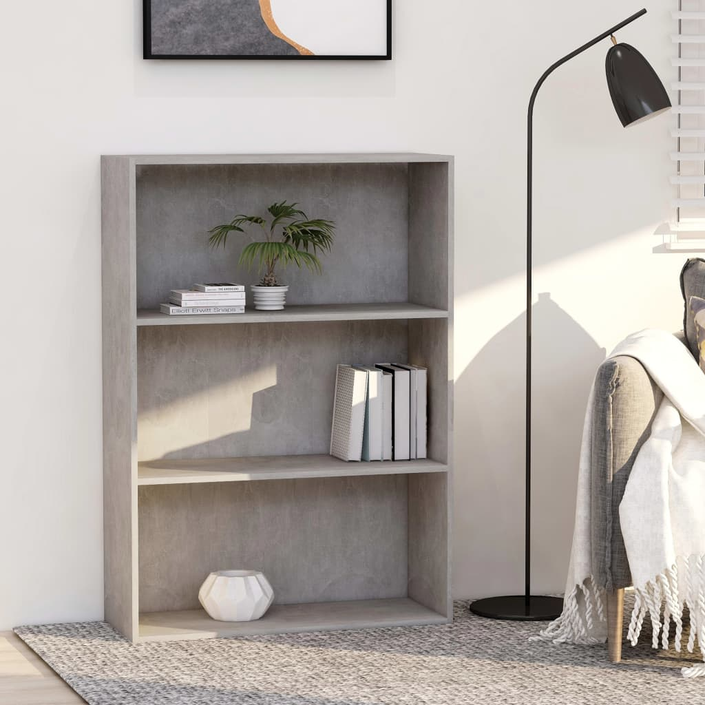 vidaXL Knižnica s 3 policami, betónovo sivá 80x30x114 cm, drevotrieska