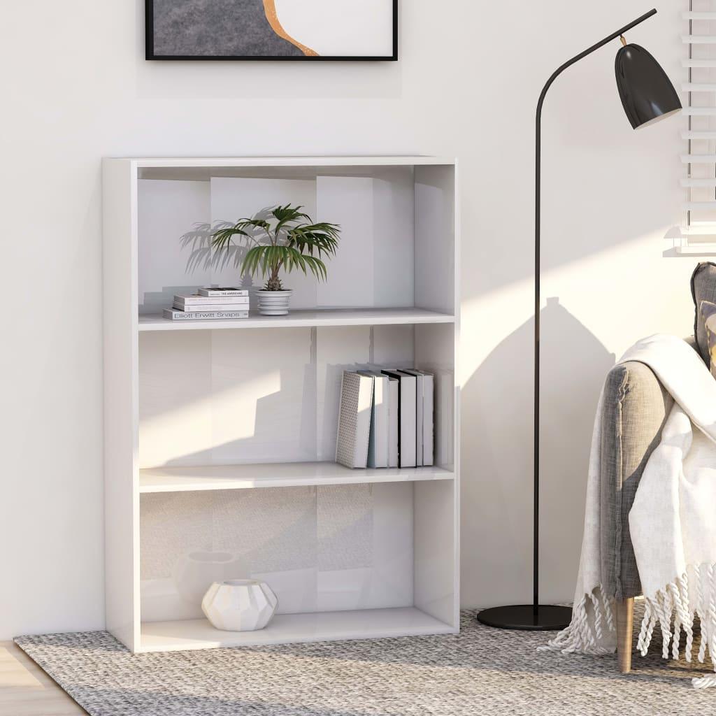 vidaXL Knižnica s 3 policami, lesklá biela 80x30x114 cm, drevotrieska
