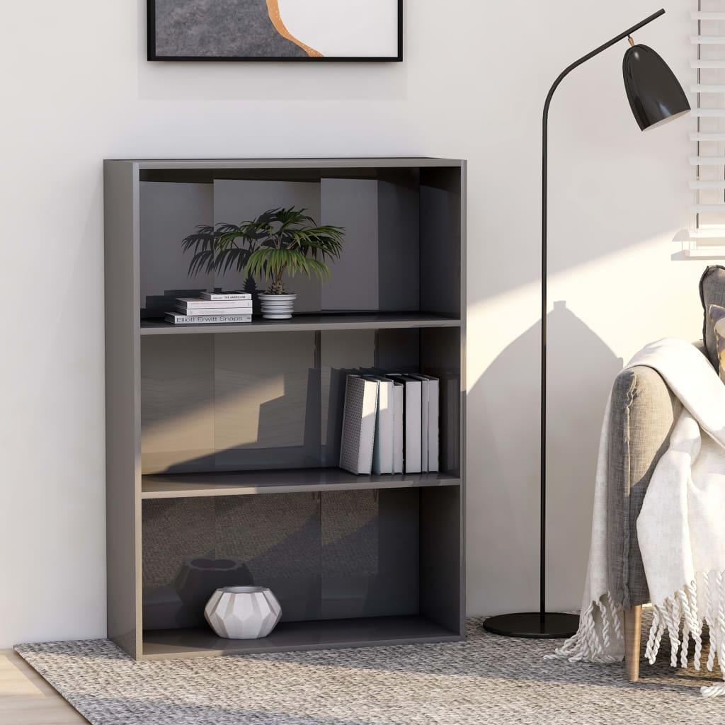 vidaXL Knižnica s 3 policami, lesklá sivá 80x30x114 cm, drevotrieska