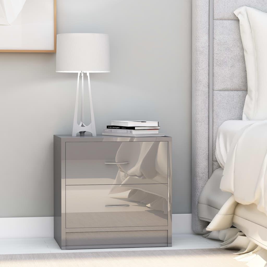vidaXL Nočný stolík, leský sivý 40x30x40 cm, drevotrieska