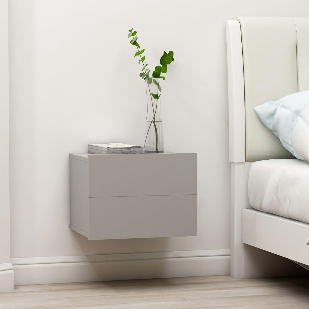 vidaXL Nočný stolík, sivý 40x30x30 cm, drevotrieska