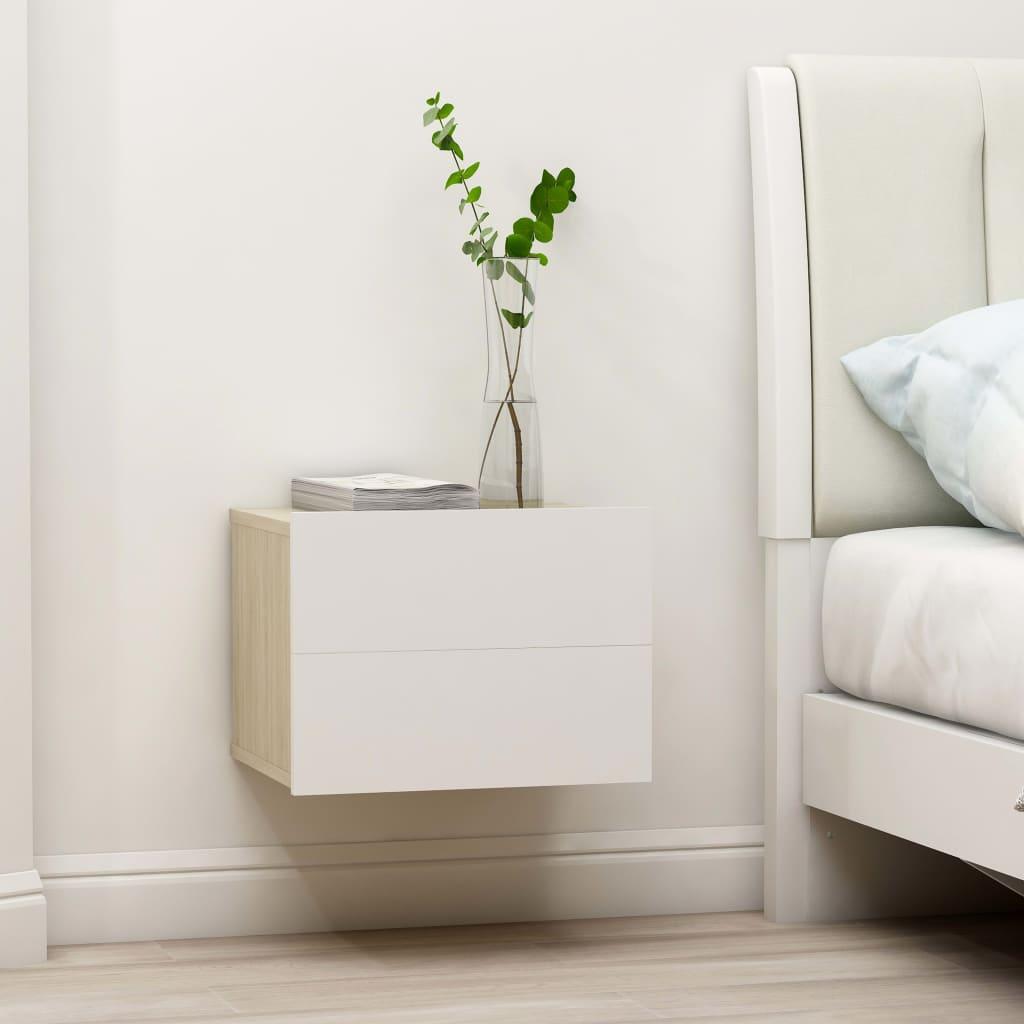 vidaXL Nočné stolíky 2 ks, biela a dub sonoma 40x30x30cm, drevotrieska