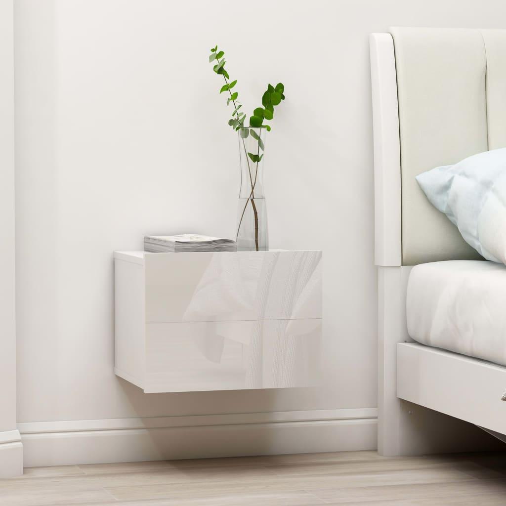 vidaXL Nočné stolíky 2 ks, lesklé biele 40x30x30 cm, drevotrieska