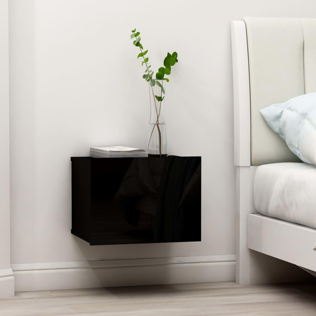 vidaXL Nočný stolík, lesklý čierny 40x30x30 cm, drevotrieska