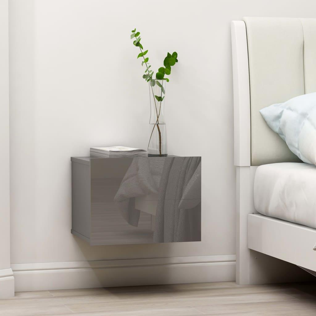 vidaXL Nočný stolík, lesklý sivý 40x30x30 cm, drevotrieska