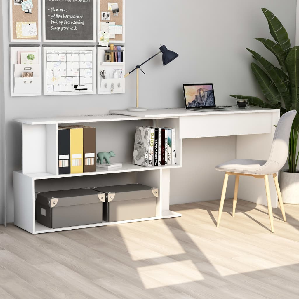 vidaXL Rohový stôl, biely 200x50x76 cm, drevotrieska