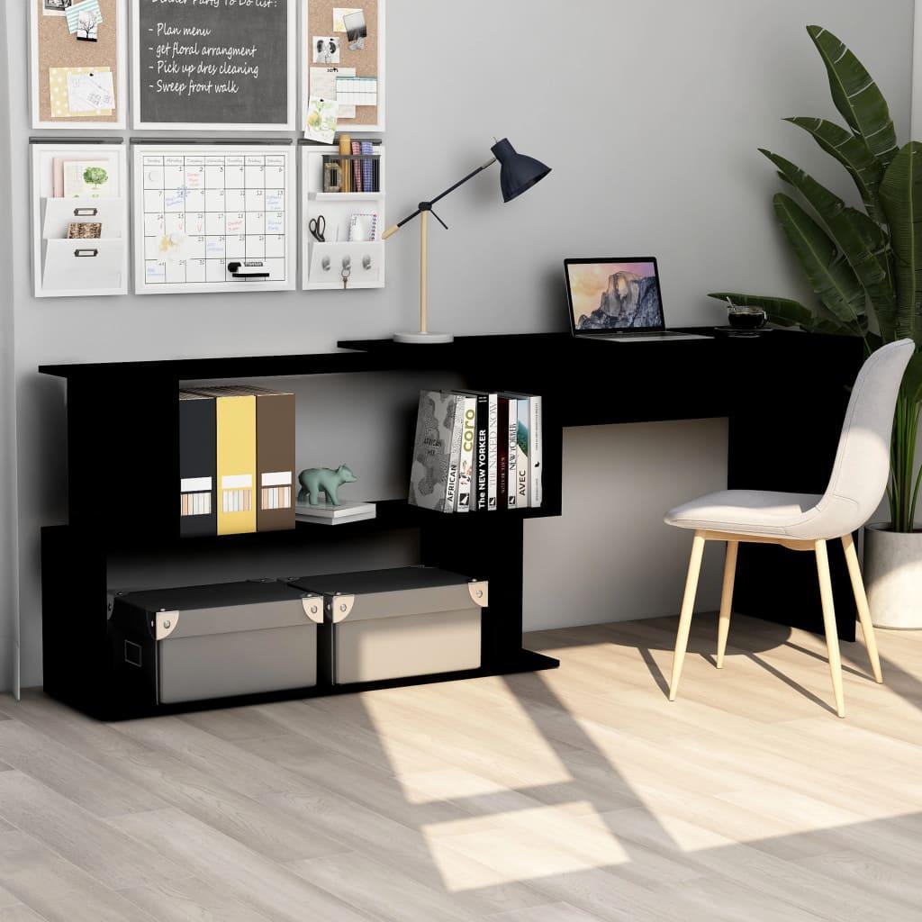 vidaXL Rohový stôl, čierny 200x50x76 cm, drevotrieska